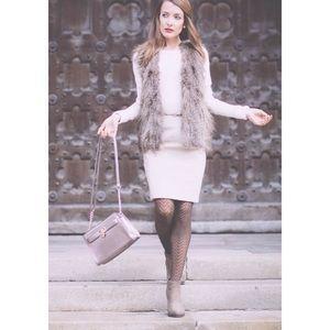 NWT Pink Rose Faux Fur Knit Vest